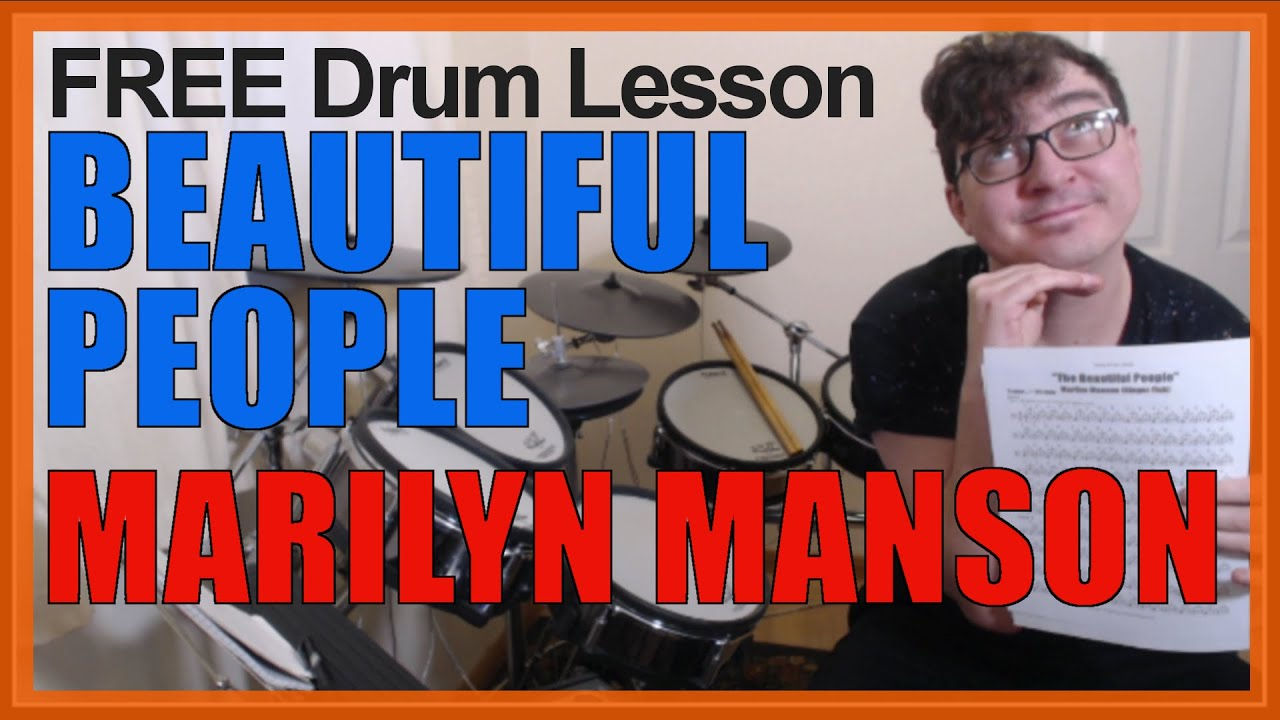 ★ The Beautiful People (Marilyn Manson) ★ FREE Video Drum Lesson | How To Play SONG (Ginger Fish)