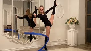 Russian Teen Model And Gymnast Anna Gloss. Performance With Ribbon