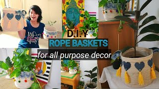 DIY fashionable Rope Basket for daily use || Easy Home Decor Ideas|| Beginners Tutorial