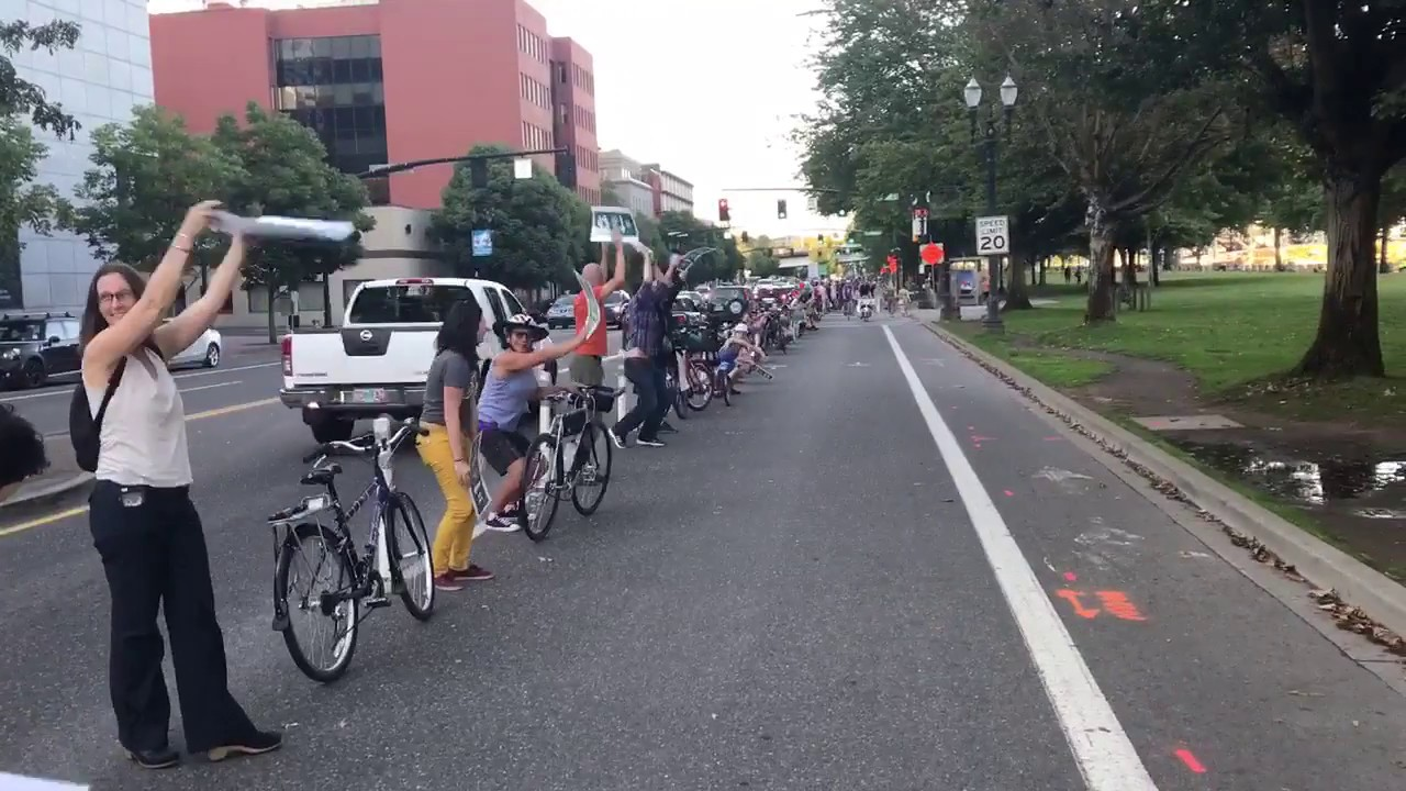An example of human protected bike lanes in Portland, Oregon.