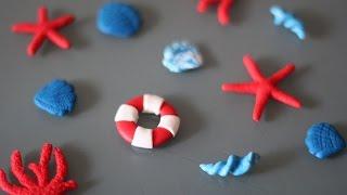 Декоративные элементы в морском стиле(Несложный МК по созданию ярких деталей в морском стиле из полимерной глины. Подставка для украшений: https://www..., 2014-07-23T21:32:41.000Z)