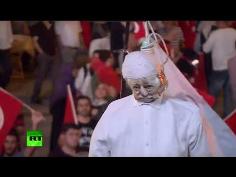Gulen effigy hanged, Turkish flags & fire at Taksim square as Erdogan supporters hail coup failure