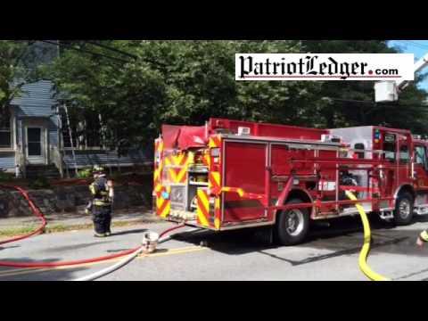 Hingham firefighters battle a 2 alarm fire on Elm Street.