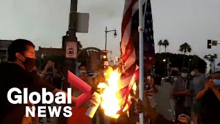 George Floyd death: Protesters take to the streets in Los Angeles