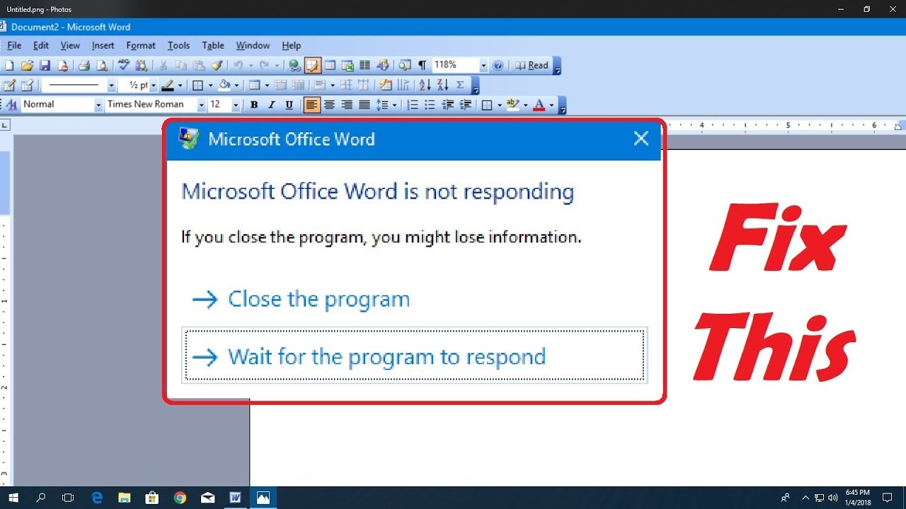 Fix Microsoft office Not Responding Error in Windows 10/8 1/7 Hindi