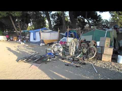 Homeless Tent City in Fullerton, CA