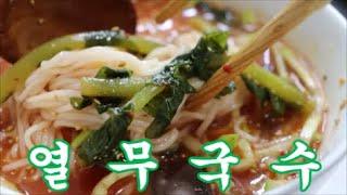시원한 별미 열무 물김치로 국수 말아먹기