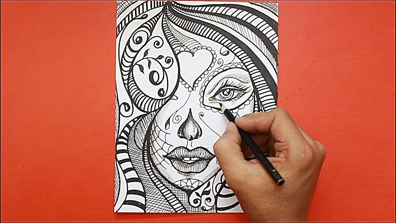 Dibujando Rostro Mujer Estilo Mandaladrawing Mandala Youtube