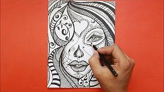 Dibujando Rostro Mujer estilo Mandala│Drawing mandala