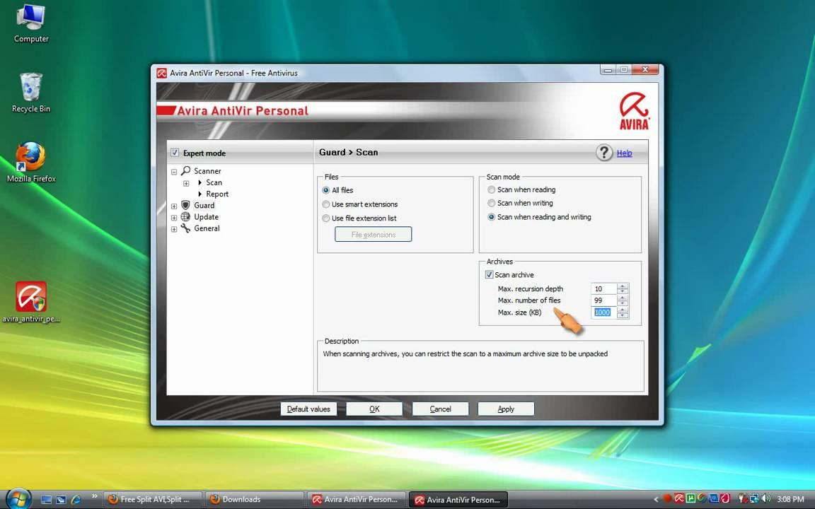 Configure Avira AntiVir Personal-Free Antivirus