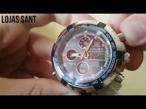 ce30552bf67 Relógio Masculino Amuda Luxo Promoção Prata Esportivo. Lojas SANT