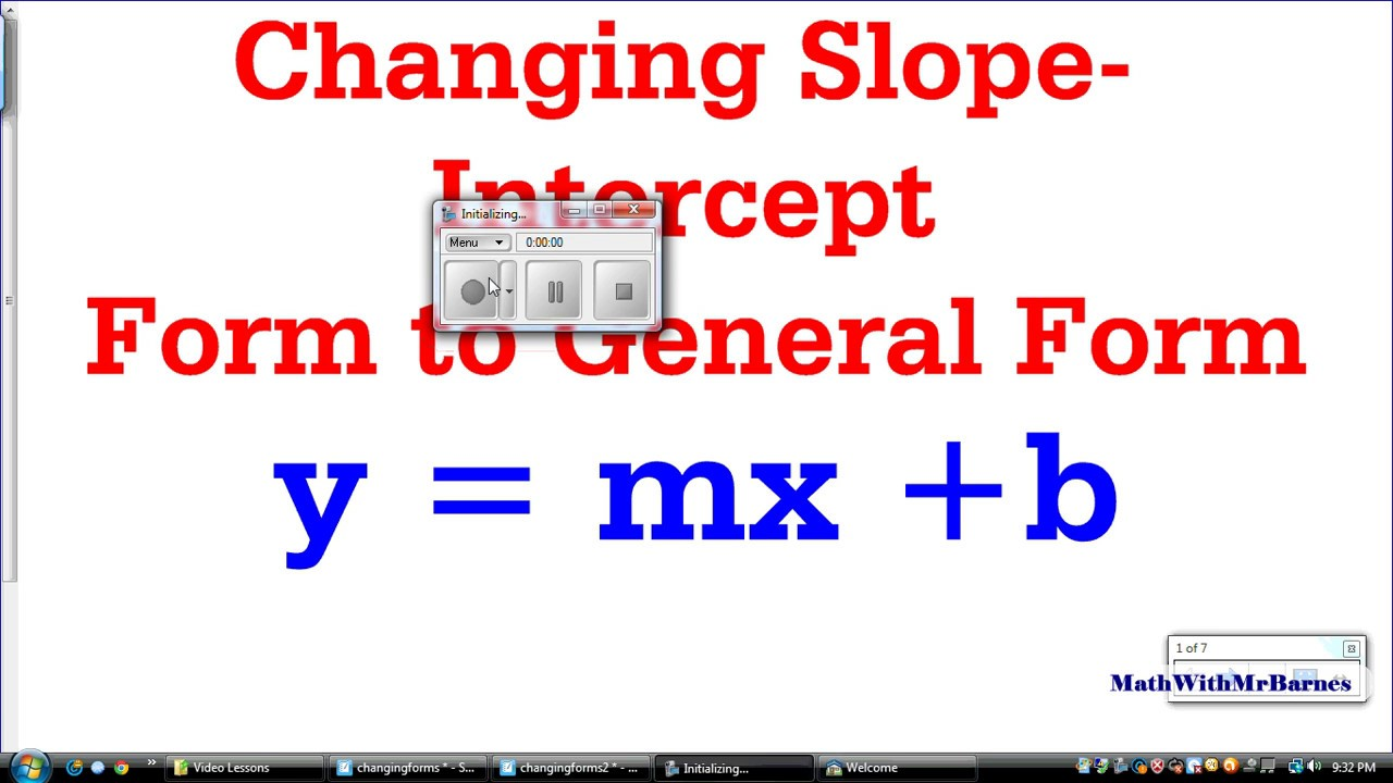 intercept form math  Changing Slope-Intercept Form to General Form