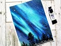 Easy Northern Lights Watercolor Painting