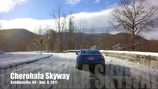 Cherohala Skyway chase drone of our Subaru BRZ in snow