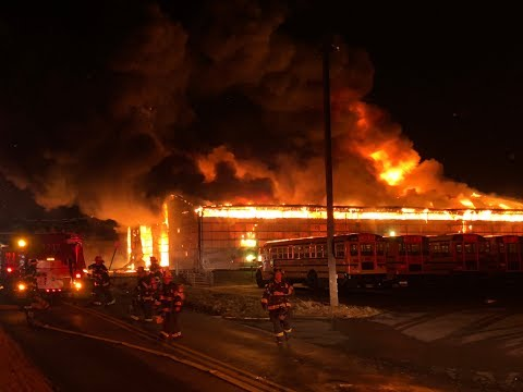 Structure Fire destroys school bus garage and buses 02/23/18