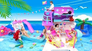 Barbie Cruise Ship Slide Pool with Mermaids Ariel Princess Dolls Beach Day Unboxing