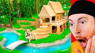 AMAZING Primitive Dog Mansion Built in 15 Days