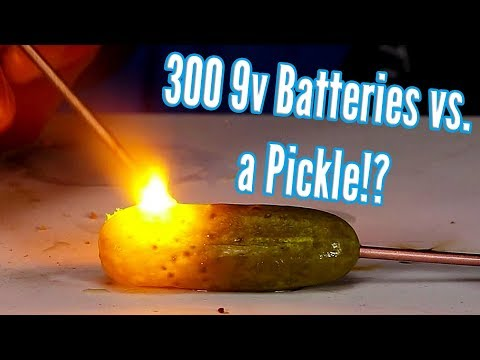 Shocking A Pickle With 300 9 Volt Batteries (2,700 Volts)