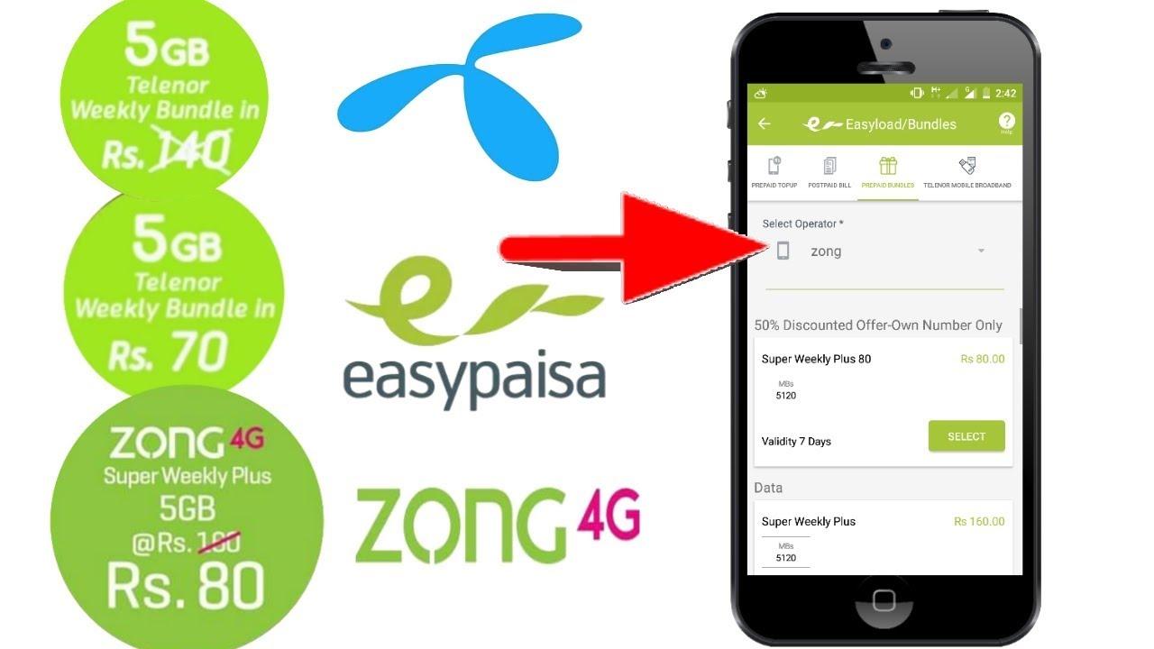 Zong 4g Telenor Easypaisa App Super Weekly Plus 5gb Data In Rs 80