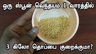 ஒரு ஸ்பூன் வெந்தயம் 3 கிலோ தொப்பை குறைக்குமா  - weight loss - tamil health tips - fat cutter
