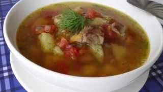 Суп с жареной свининой. Суп со свининой.