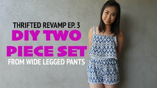 Thrifted Revamp Ep. 3 - DIY Two piece set from wide legged pants // ItsJMomo