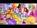 Ariel's Surprise BIRTHDAY Rapunzel Prep Party with Princesses and Barbie Dress up - Cake - Presents