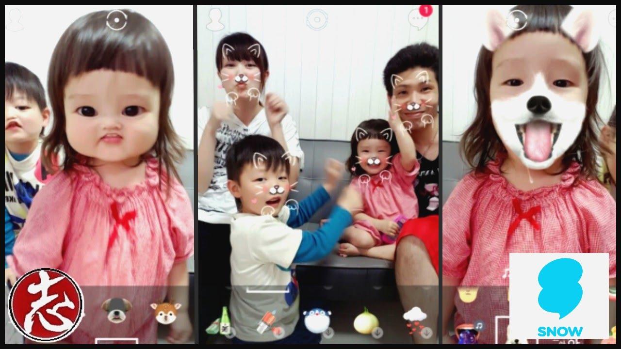 1197【スマホアプリ】iphone\u0026android変顔アプリ『SNOW』で遊んでみました♪ iphone application SNOW  Henkao challenge!! , YouTube