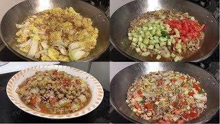 How to Cook Ground Pork with Mixed Vegetables (Chinese Cabbage, Bell Pepper, Cucumber and Tomato)