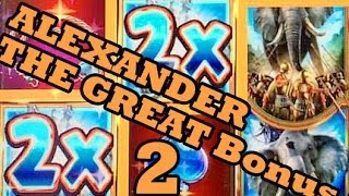 BIG WINS on Alexander the Great WMS Slot machine bonus