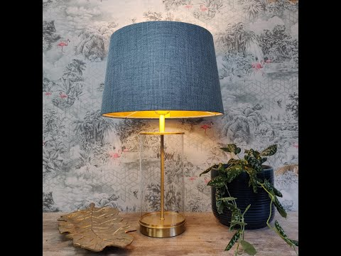 Duck Egg Blue French Drum Lampshade with Gold Lining