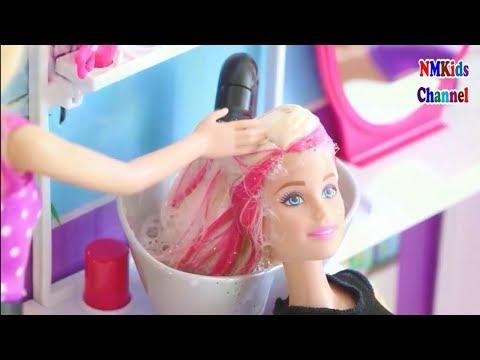 Búp bê barbie đi làm tóc