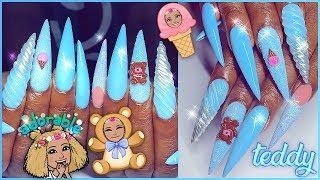 Teddy Bear Ice Cream Unicorn Baby Blue Acrylic Nails Full Set Stile...