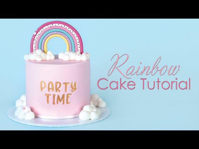 Rainbow Cake Decorating Tutorial With 3D Clouds