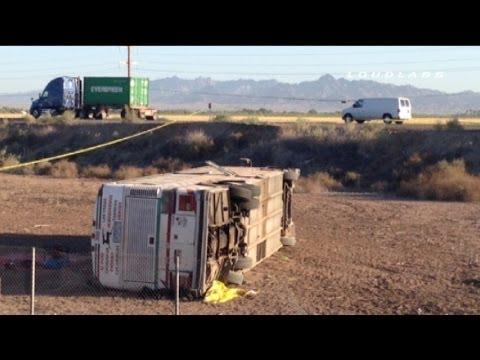 4 Dead in Califonria Arizona Border Bus Crash / Blythe CA   RAW FOOTAGE