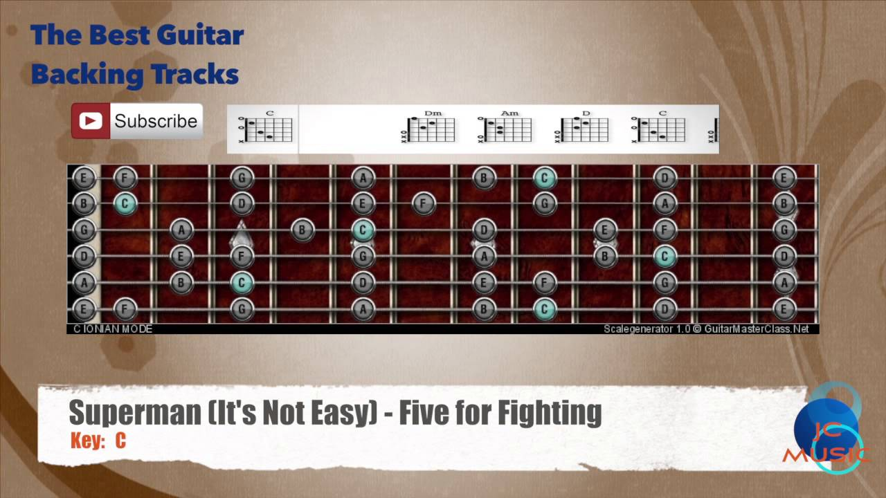 Superman its no easy five for fighting guitar backing track superman its no easy five for fighting guitar backing track with scale chart and chords hexwebz Choice Image