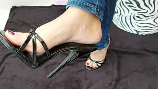 my sexy rough feet in high heels mules