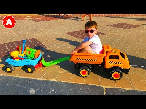 Kids Having Fun at the Beach and Driving Toy Cars for Kids