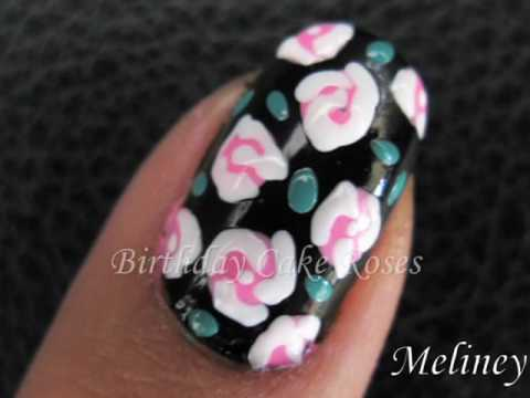 Nail Art Tutorial Birthday Cake Polka Dot Roses Flower Design For