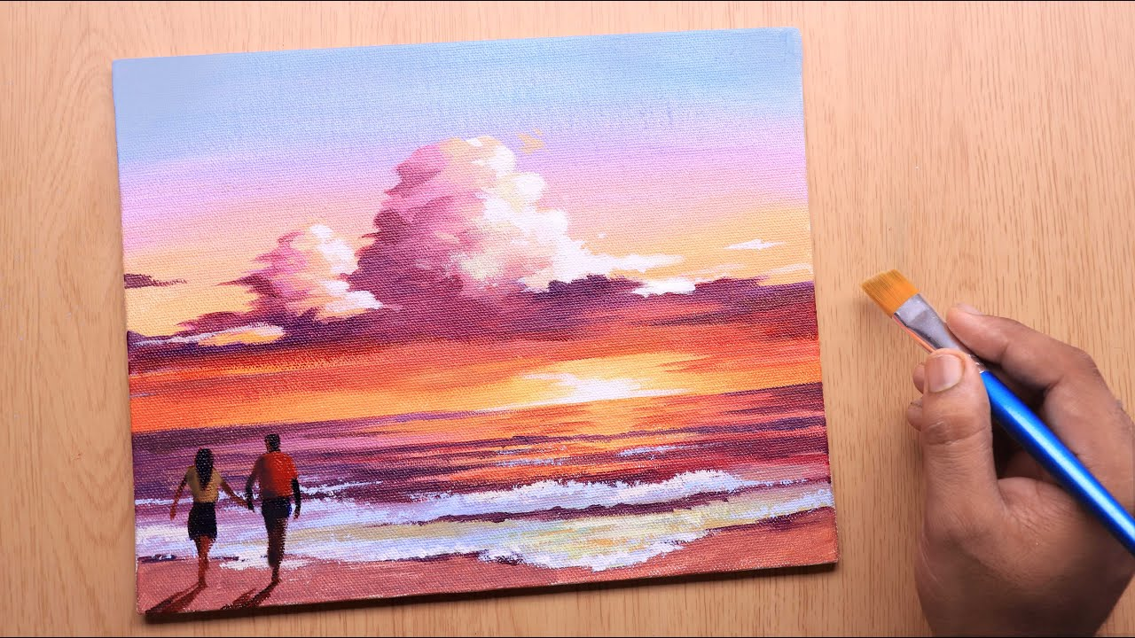 Acrylic painting of Beautiful sunset beach with couple step by step