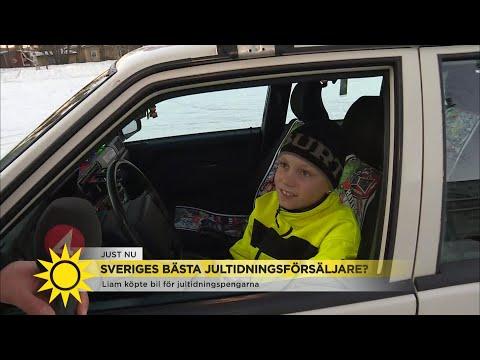 Tioårige Liam köpte bil för jultidningspengarna - Nyhetsmorgon (TV4)