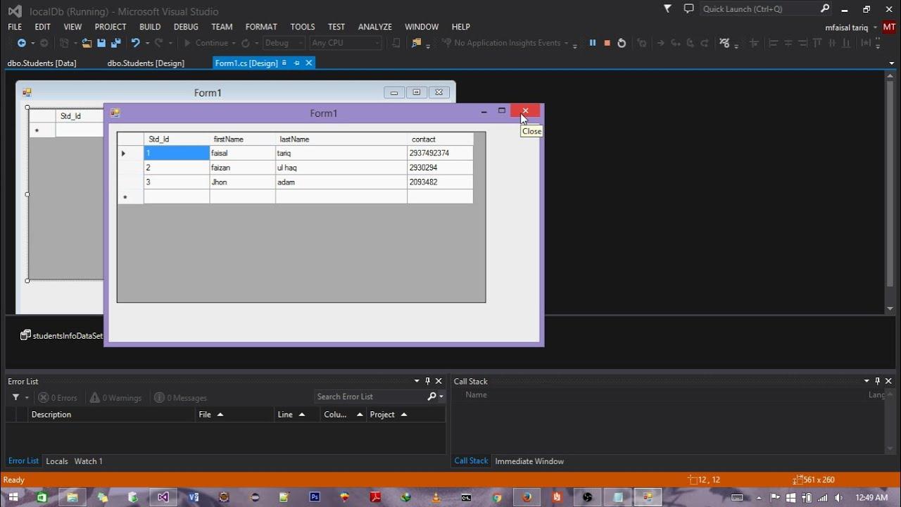 Creating a local Database in visualStudio/c#