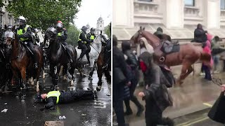 Horse bolts past crowd during clashes at London march | George Floyd protests