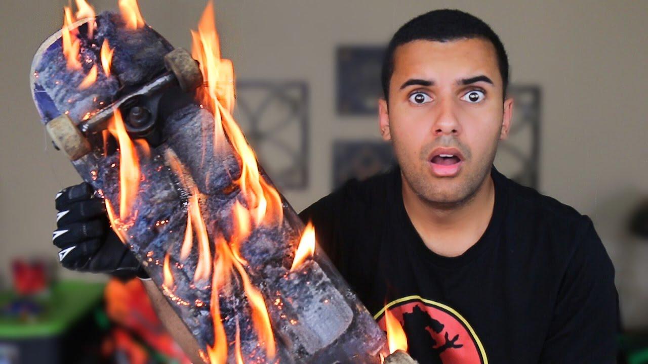 EXPERIMENT!! DIY FLAMING STEELWOOL SPARKING SKATEBOARD ...