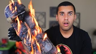 EXPERIMENT!! DIY FLAMING STEELWOOL SPARKING SKATEBOARD!!! *REAL LIFE GHOST RIDER*