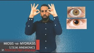 ASL Mnemonic: MIOSIS or MYDRIASIS? |The Pupil of the Eye
