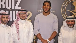 Anthony Joshua ARRIVAL - Engulfed by Photographers in Riyadh | Ruiz v Joshua 2