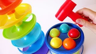 Learn colors shapes learn numbers for babies toddlers preschoolers with hammer drum tower balls