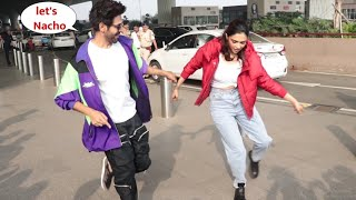 Kartik Aaryan and Deepika Padukone Publicly Dance on Mumbai Airport for Pati Patni aur Woh Promotion