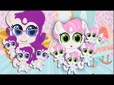 Растим Крошку БЭЛЬ, большая семья в игре карманная пони.  My Little Pony.